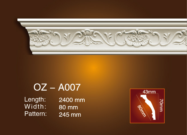 100% Original Factory Wall Ceiling Medallions - Carving Cornice Moulding OZ-A007 – Ouzhi